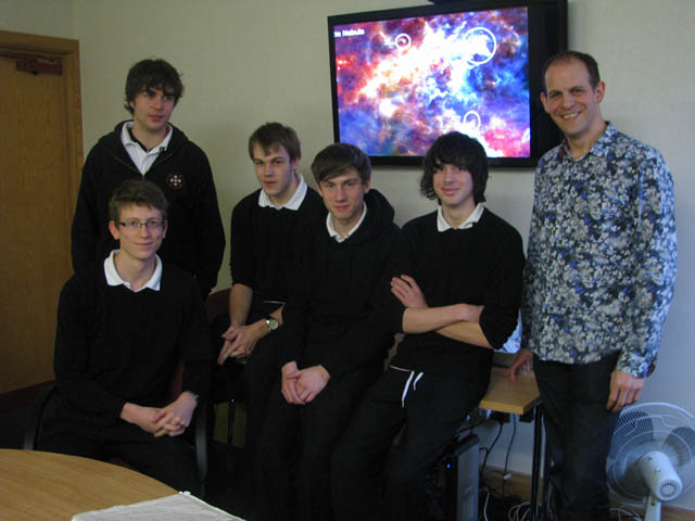 Peter Hargrave with Sixth Formers